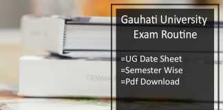 Gauhati University Exam Routine BA BSC BCOM 5th-3rd-1st Sem