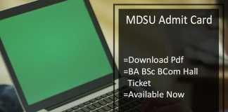 MDSU BA BSC BCOM Admit Card - MDS Univ 1st-2nd-3rd Year Roll No