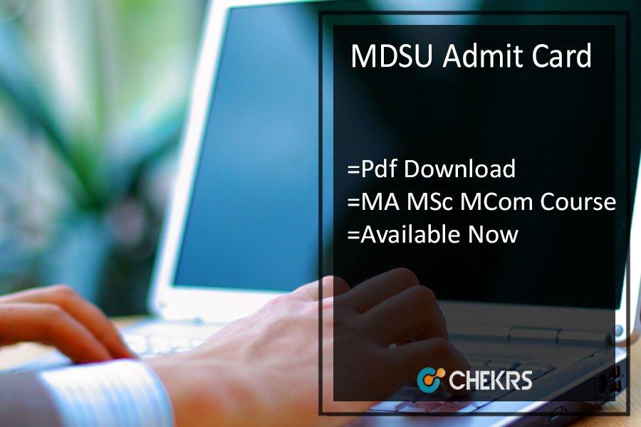 MDSU Admit Card - MDS University MA M.SC M.COM Previous/ Final Exam Date