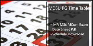 MDSU Ajmer Time Table - MA MSC MCOM (PG) Exam Date Sheet