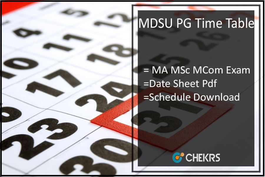 MDSU Ajmer Time Table - MA MSC MCOM (PG) Exam Date Sheet