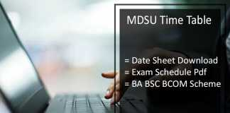 MDSU Time Table - MDS University Ajmer BA BSC BCOM Date Sheet