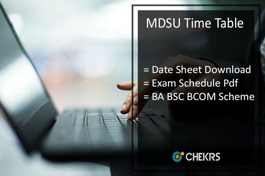 MDSU Time Table - MDS University Ajmer BA BSC BCOM Date Sheet