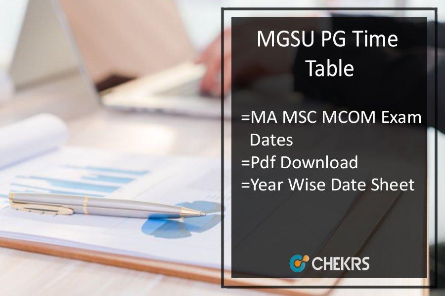 Maharaja Ganga Singh University MA M.SC M.COM Time Table