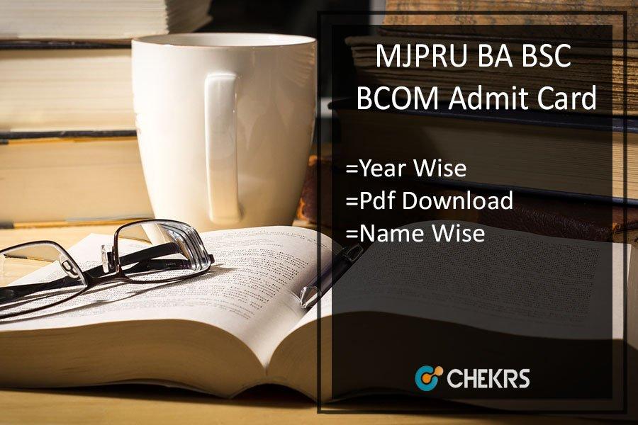 MJPRU BA BSC BCOM Admit Card - Rohilkhand 1st 2nd 3rd Year