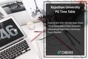 Rajasthan University PG Time Table- Uniraj MA MSC MCOM Date Sheet