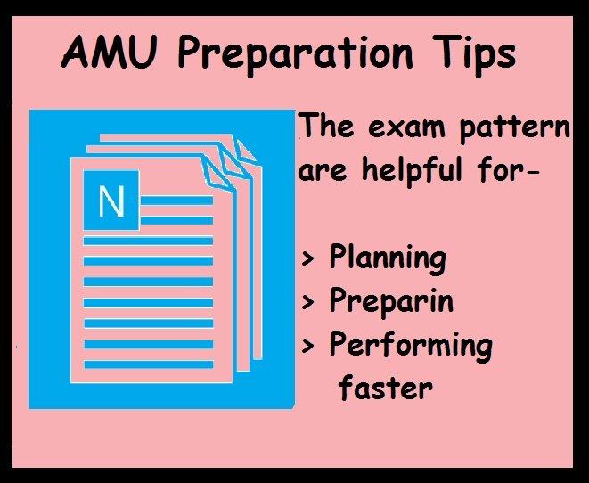 AMU preparation tips- Exam Pattern