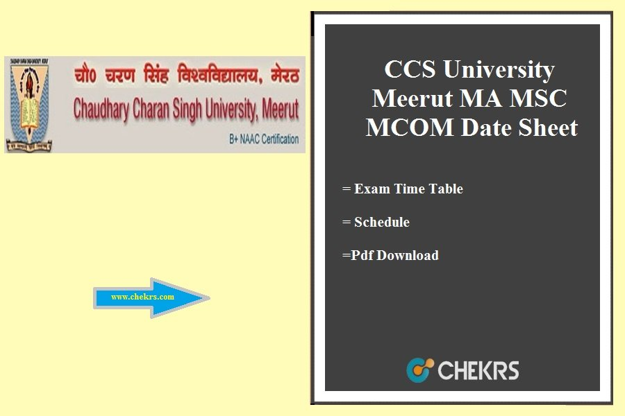 CCS University Meerut MA MSC MCOM Date Sheet - 1st 2nd 3rd Year