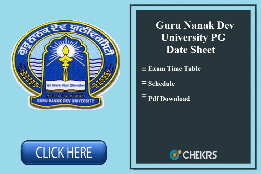GNDU Exam Date Sheet - MA MSc MCom MBA MCA November Semester