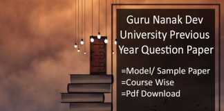 GNDU Previous Year Question Paper- Model/ Sample Papers Pdf