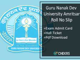 GNDU Roll No Slip - BA BSC BCom BCA Hall Ticket/ Admit Card