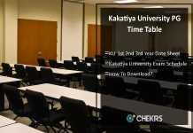 Kakatiya University PG Time Table - KU MBA MA MSc MCom Exam Date