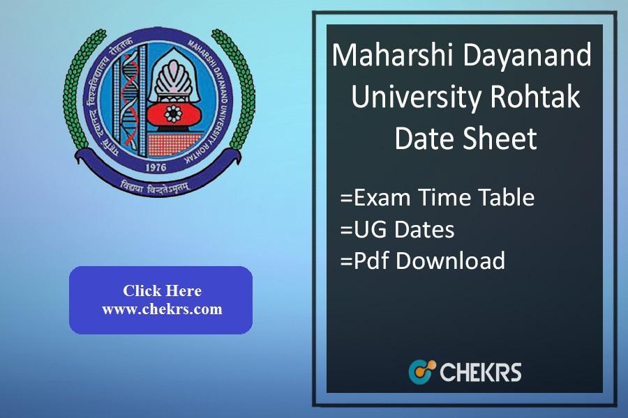 MDU Rohtak Date Sheet - BA BSc BCom BBA BCA Exam Time Table