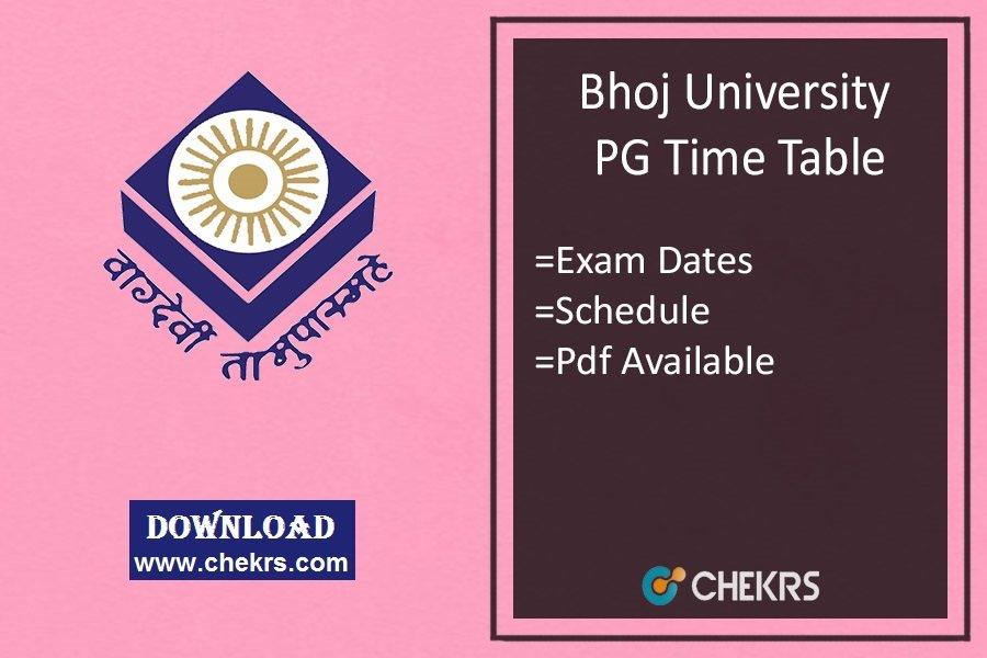 Bhoj University PG Time Table , MA MSc MCom Exam Date