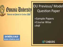 OU Previous/ Model Question Paper- Osmania University Sample Papers