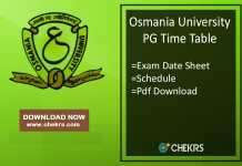 Osmania University PG Time Table - OU MA MSc MCom Exam Date