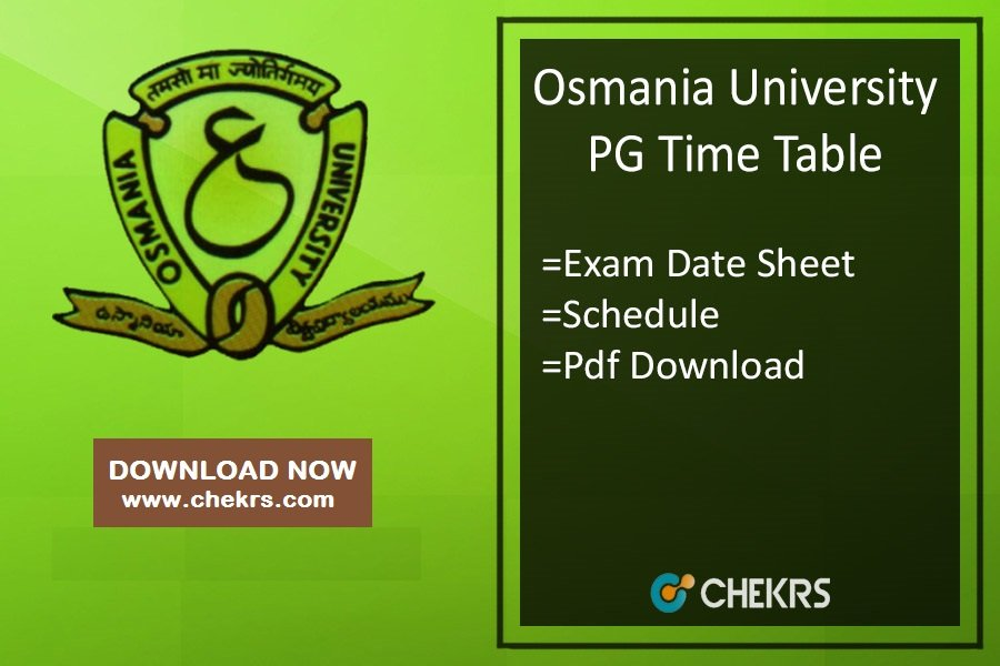 Osmania University PG Time Table - OU MA MSc MCom Exam Date