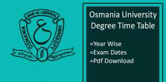 Osmania University Time Table - OU Degree Exam Date, Schedule