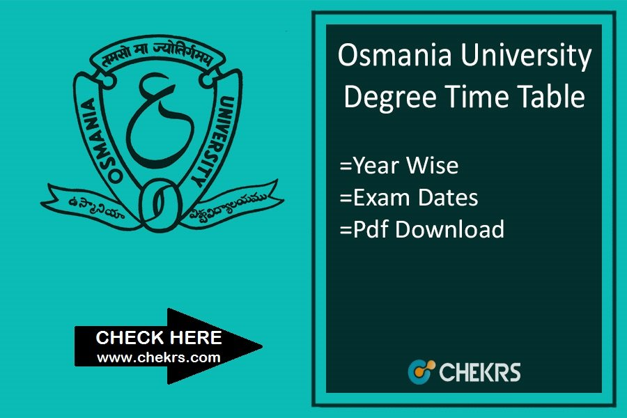Osmania University Time Table - OU Degree Exam Date, Schedule