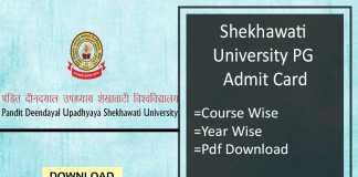 Shekhawati University PG Admit Card - PDUSU Sikar MA MSc MCom