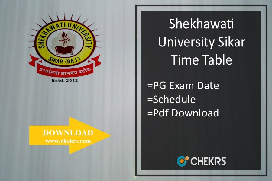 Shekhawati University Sikar Time Table - PDUSU MA MSc MCom Exam Date