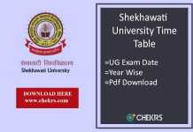 Shekhawati University Time Table - PDUSU BA BSc BCom Exam Date