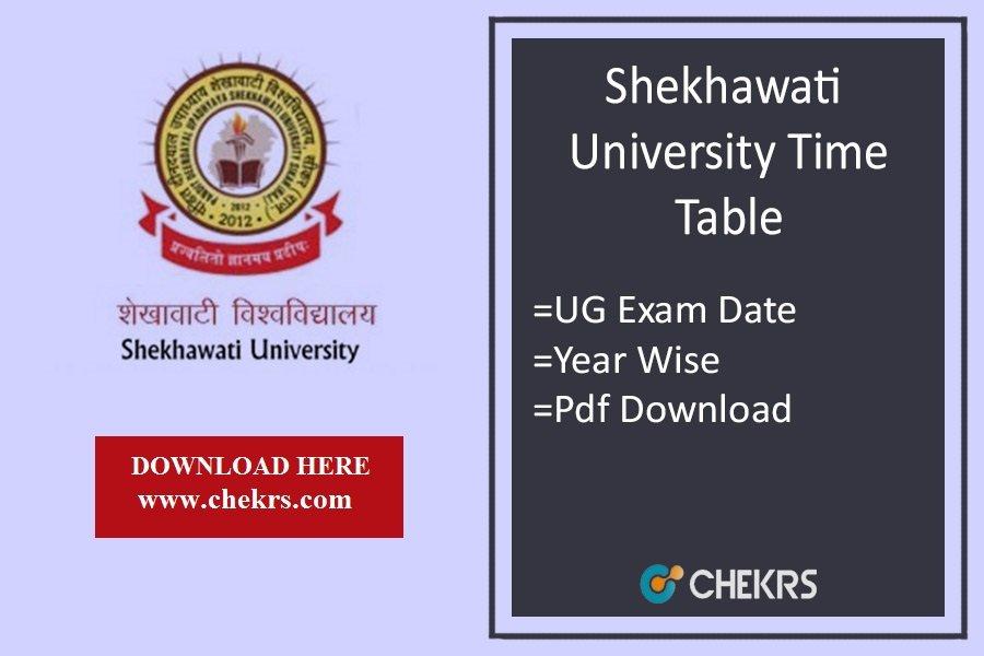 Shekhawati University Time Table - PDUSU BA BSc BCom Exam Date