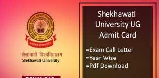 Shekhawati University Admit Card- PDUSU Sikar BA BSc BCom