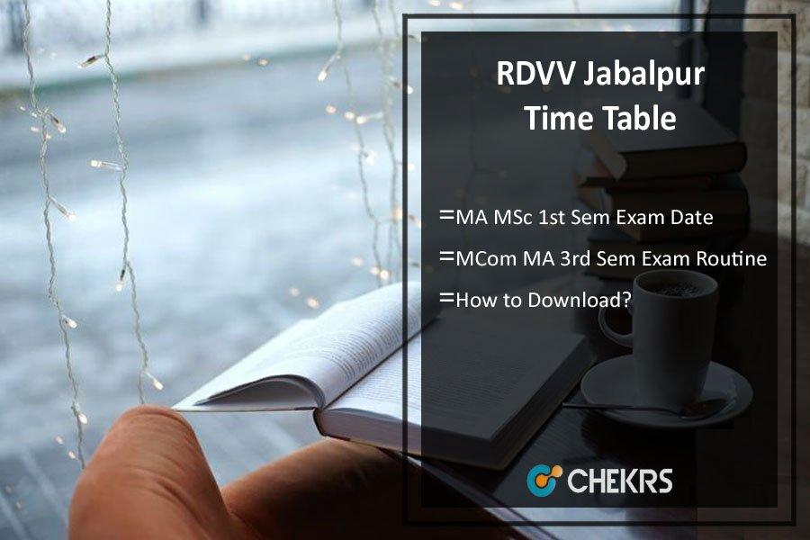 RDVV Jabalpur Time Table - MA MSc MCom 1st 3rd Sem Exam Date