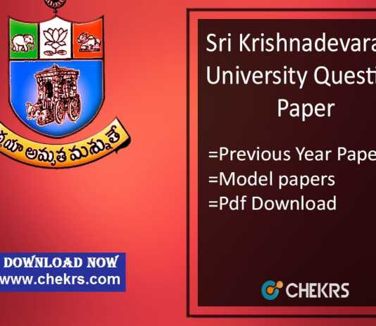 SKU Question Paper - SK University Previous Year/ Model Papers