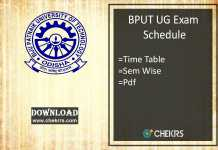 BPUT Exam Schedule- B.Tech 1st 3rd 5th Odd Sem Time Table