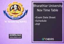 Bharathiar University Time Table Nov Dec UG PG Date Sheet