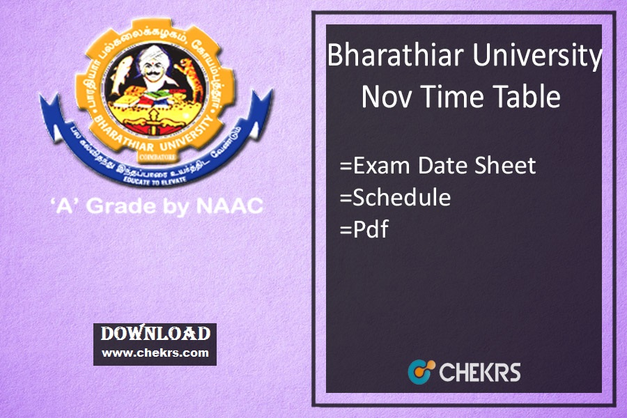 Bharathiar University Time Table Nov Dec UG PG Date Sheet