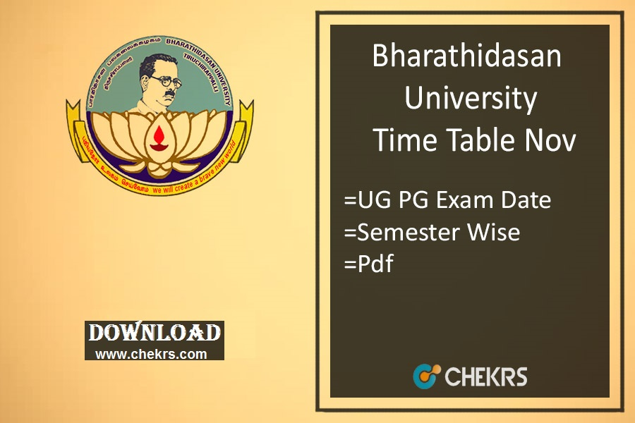Bharathidasan University Time Table Nov - BDU Exam Date