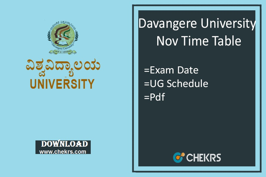 Davangere University Time Table , BA BSc BCom Exam Date