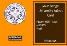 Gour Banga University Admit Card - UG PG Exam Hall Ticket