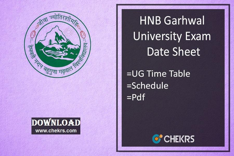 HNBGU Date Sheet - Garhwal Univ BA BSc BCom Exam Time Table