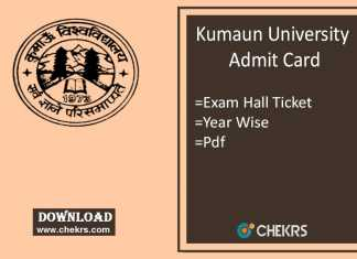 Kumaun University Admit Card - BA B.Sc B.Com B.Ed 1st-2nd-3rd Year