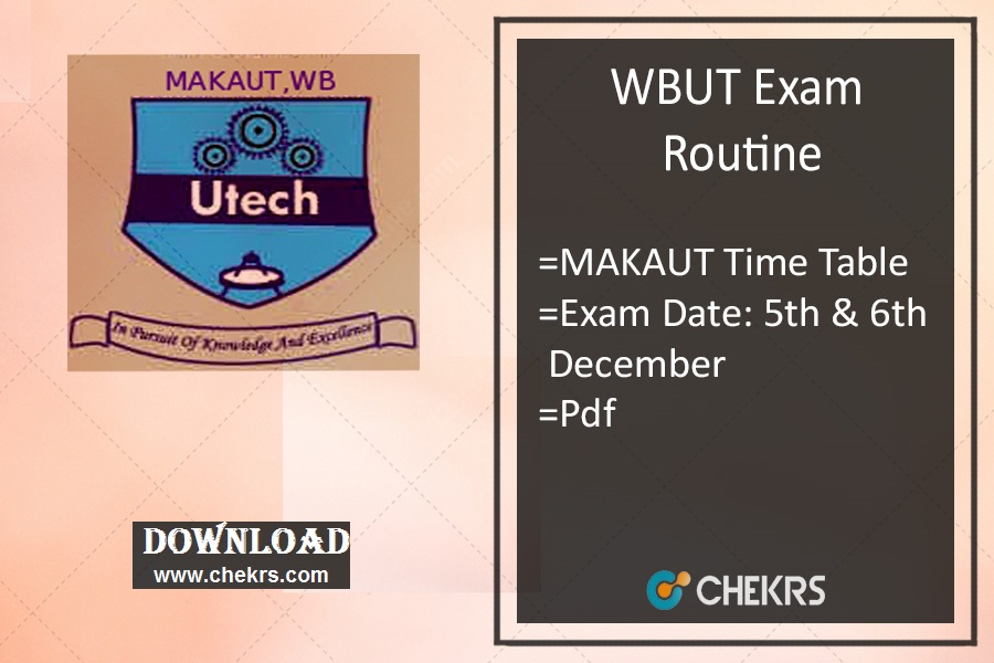 MAKAUT Exam Routine - WBUT 1st 3rd 5th 7th Odd Sem Time Table
