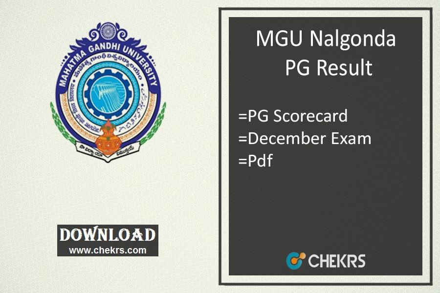 MGU Nalgonda PG Results - MSc MBA 1st 3rd Sem Exam Result