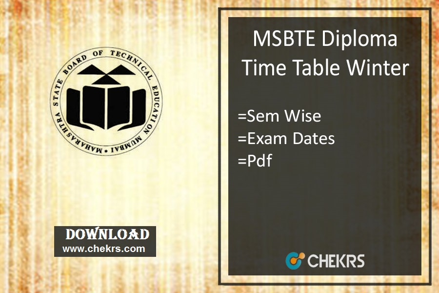 MSBTE Diploma Time Table Winter , Polytechnic Exam Date