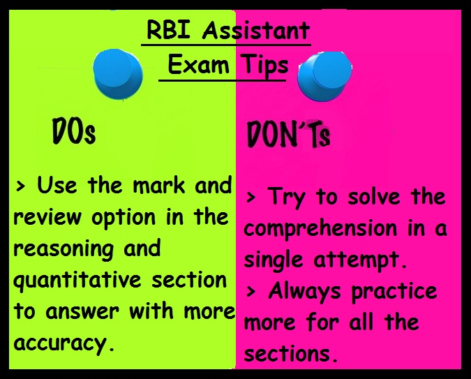RBI Assistant Exam Dos and Donts