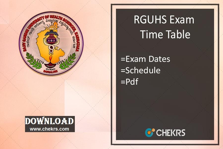RGUHS Time Table - Nursing B.Pharm MBBS Exam Date Schedule