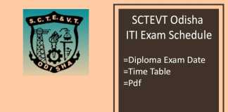 SCTEVT Odisha Exam Schedule - ITI 1st 3rd 5th Sem Time Table