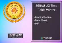 SGBAU Time Table Winter - BA BSC BCOM BCA LLB 5th-3rd-1st Sem