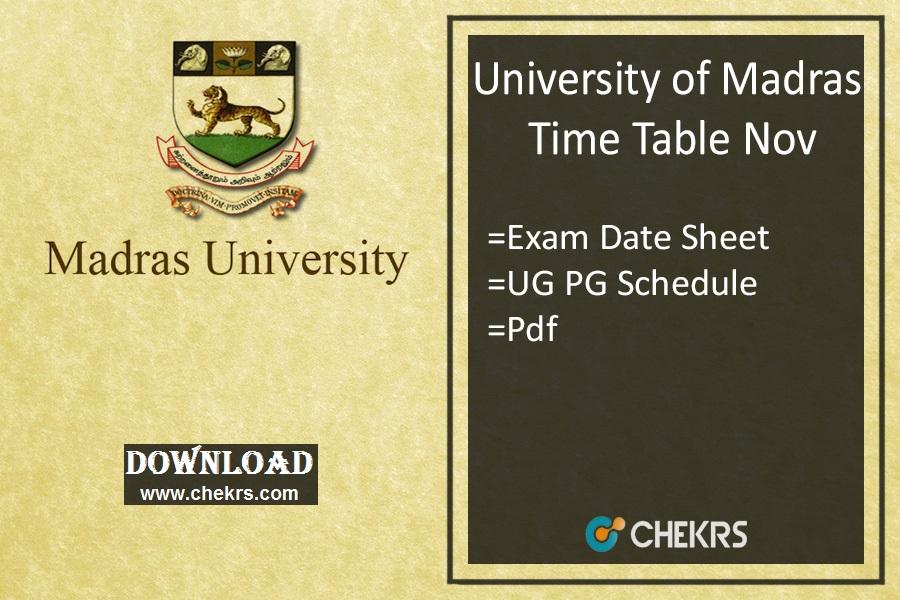 Madras University Time Table Nov- UNOM UG PG Exam Date