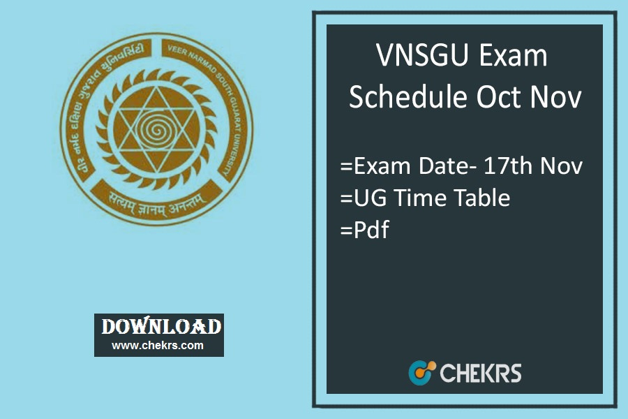 VNSGU Exam Schedule Oct Nov- BA BSc BCom Sem Time Table