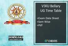 VSKUB Time Table - Degree BA BSc BCom 1st 3rd 5th Sem Exam Date