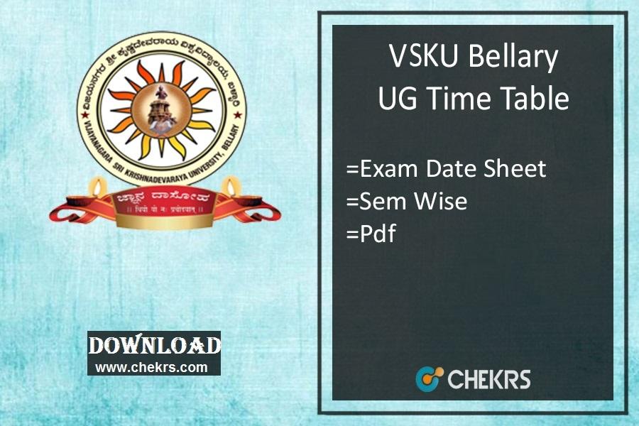 VSKUB Time Table - Degree BA BSc BCom 1st 3rd 5th Sem Exam Date