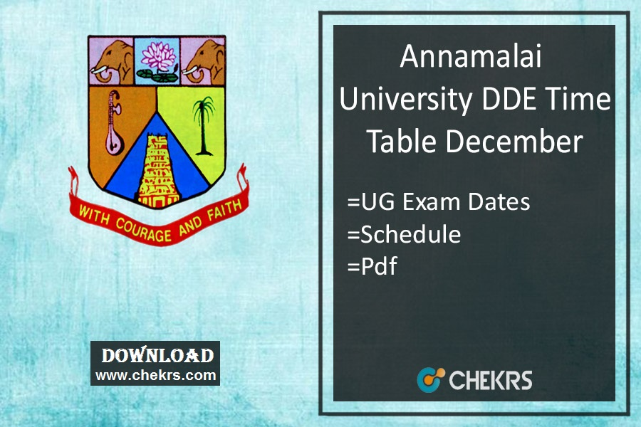 Annamalai University DDE Time Table December - 1st 3rd 5th Sem Exam Date